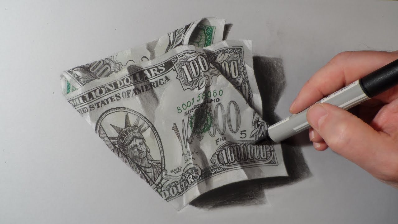 How To Draw Dollar One Million Dollars Bill Youtube