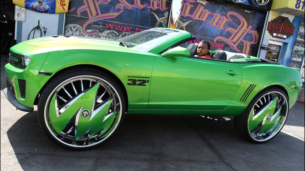 Custom Green Camaro Sits On Massive 32 Inch Rims Youtube