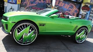 Custom Green Camaro Sits On Massive 32-inch Rims