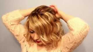 Праздничная/новогодняя причёска своими руками на средние/длинные волосы с локонами (самой себе)