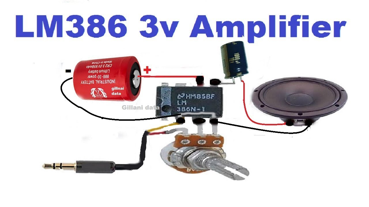 Audio amplifier with lm386 ic with potentiometer