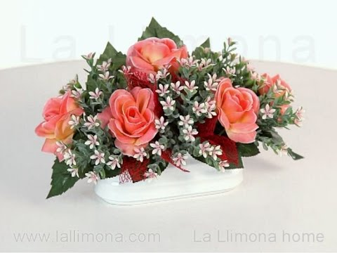 Arreglos florales jardinera cer mica rosas artificiales - Como hacer centro de flores artificiales ...
