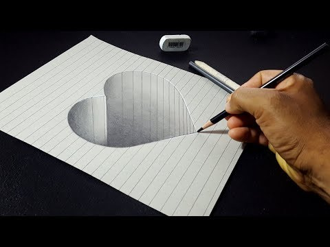 How to Draw a 3D Hole Heart Shape - Easy 3D Drawings for Kids
