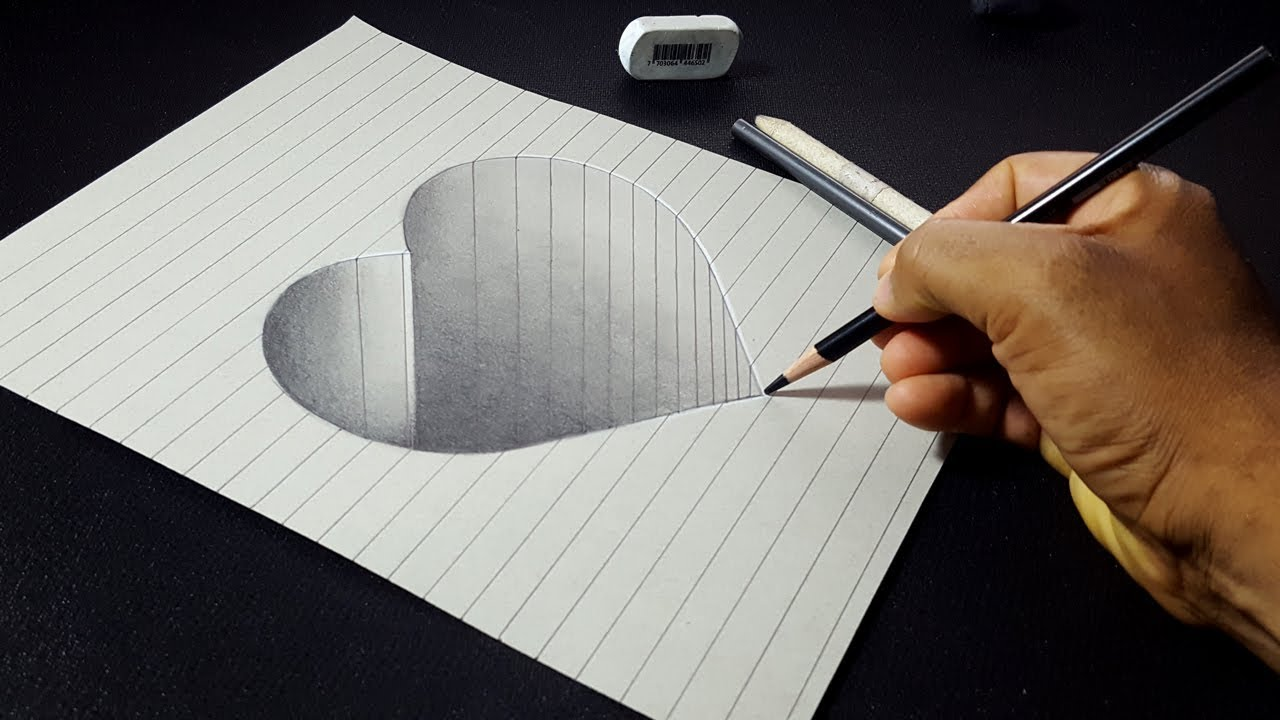 How to Draw a 3D Hole Heart Shape - Easy 3D Drawings for ...