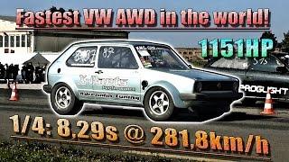 NEW VW AWD WORLD RECORD! 16Vampir Golf Mk1 AWD 1100HP 8,29s @ 281km/h
