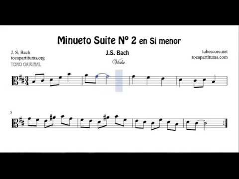 Bach Minuet Nº 2 B Minor Sheet Music for Viola