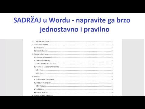 Download Sadržaj u wordu - napravite ga lako, brzo i pravilno