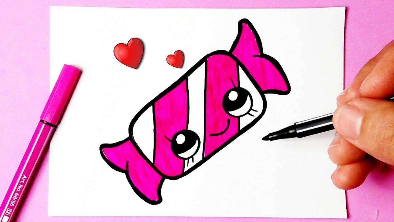 Como Desenhar Bala Fofa Kawaii Desenhos Bonitos Desenho Para