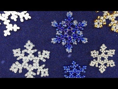 Снежинки из бисера мастер класс пошагово для начинающих