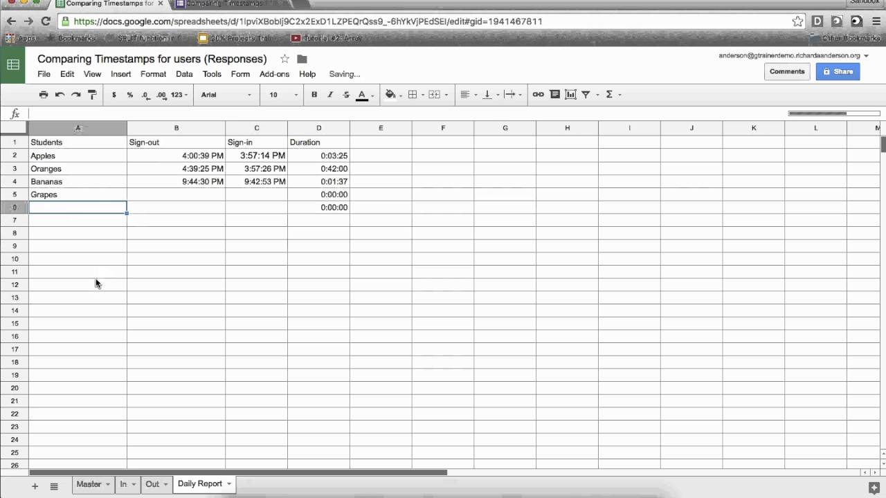 Google Sheets: Calculating time between timestamps