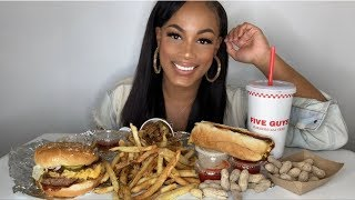 FIVE GUYS DOUBLE BACON CHEESE BURGER, CHEESE HOT DOG, AND CAJUN FRIES