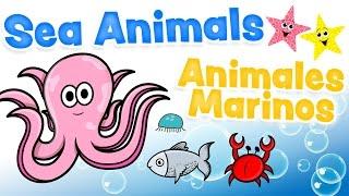ANIMALES MARINOS en inglés y español para niños - Aprendizaje bilingüe