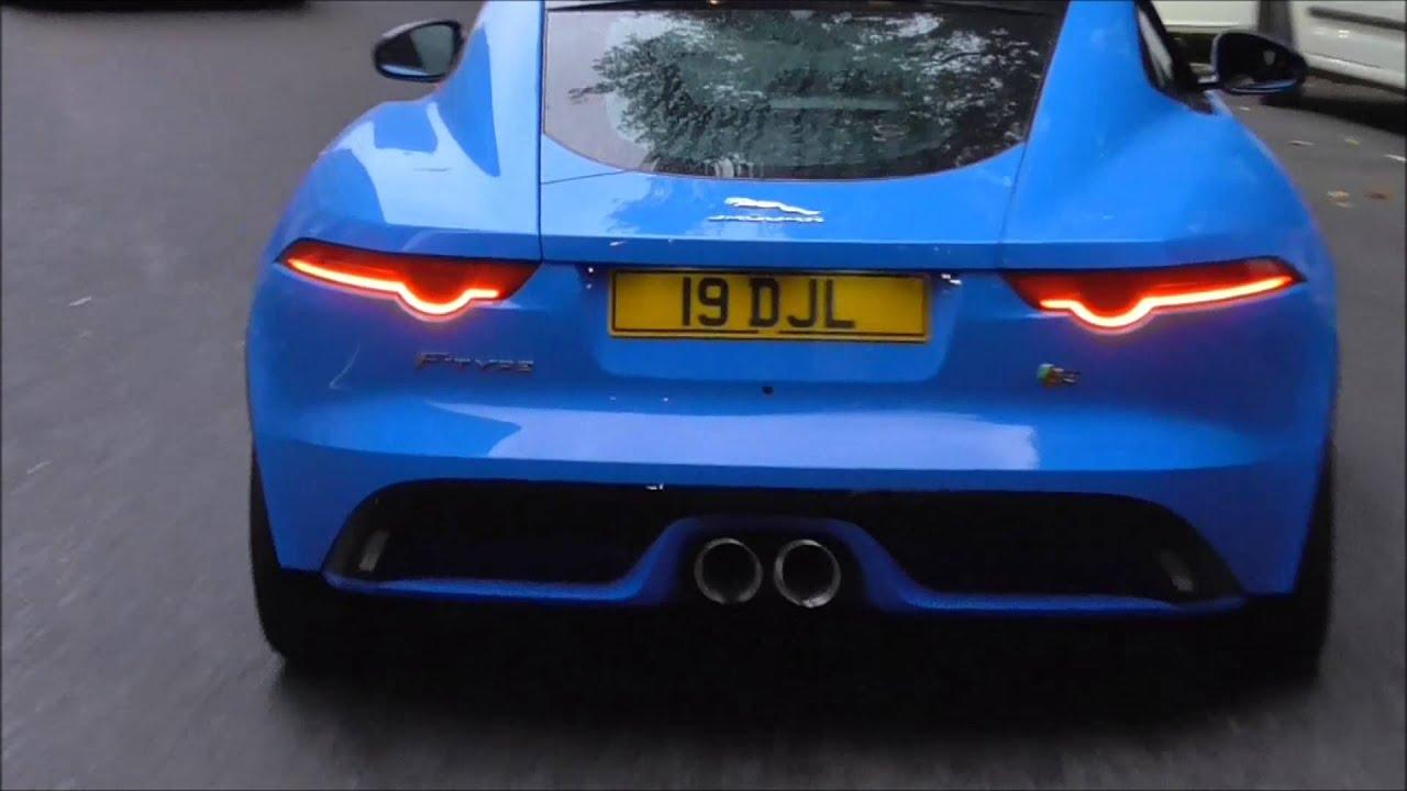 beautiful jaguar ftype in french racing blue in london