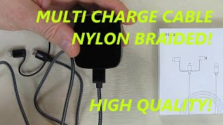 REVIEW of iHaper Multi Charging Cable - 3 in 1 Nylon Braided Lightning/USB C/Micro USB