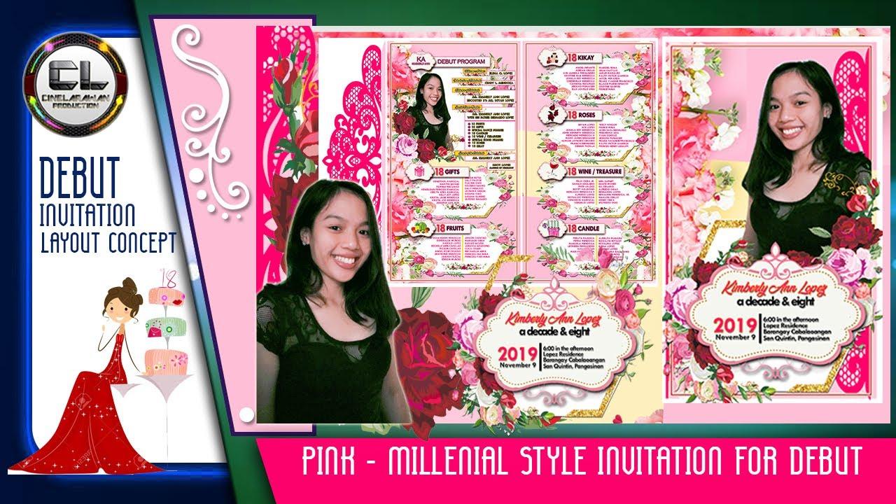 pink millenial style invitation for 18th birthday cinelarawan production
