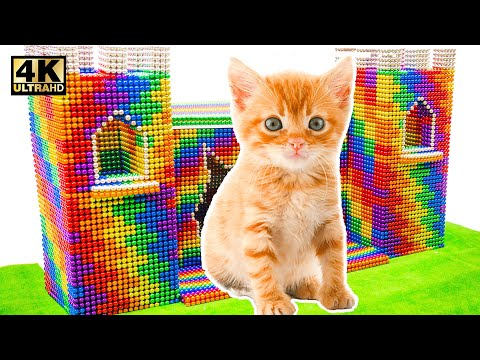 DIY - Build Beautiful House for Kitten Cat From Magnetic Balls (Satisfying) | Magnet World Series