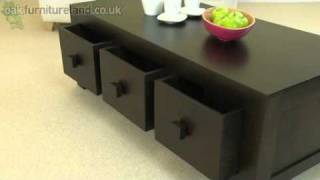 Mantis Dark Solid Mango 6 Drawer Coffee Table From Oak Furniture Land