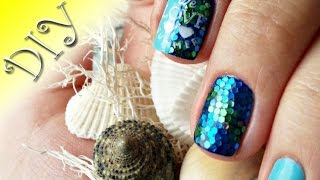 Design with large sequins/#2/Fish scales/Summer nail art design/Marine design/design nail art/DIY