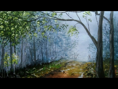 How to paint oil painting | Oil painting classes|  Landscape,trees art Oil paint for beginners