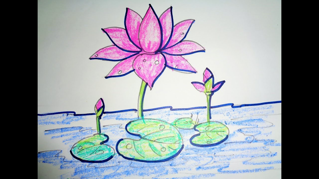 How To Draw Lotus Step By Step Easy Drawing Youtube