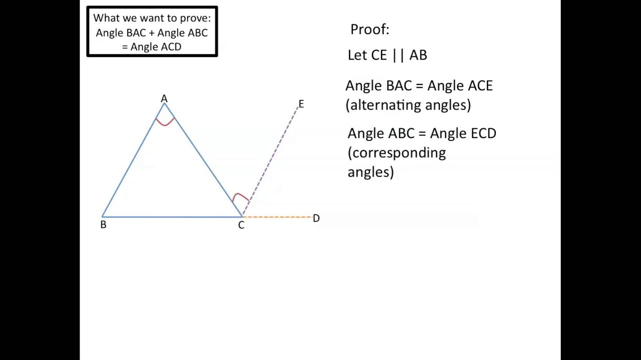 Exterior angles equal sum of remote interior angles - The exterior angle of a triangle is equal to ...