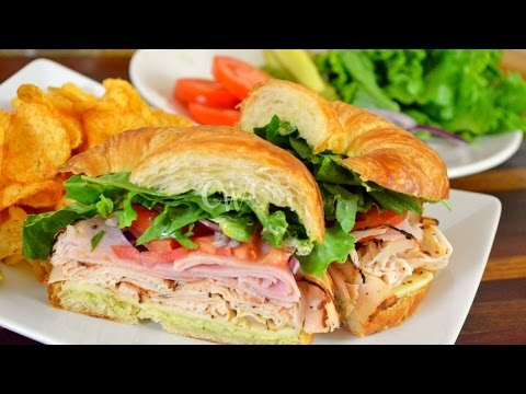 Blackened Turkey, Black Forest Ham & Pepper Jack Cheese Croissant Sandwich |Back to School Recipes