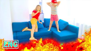 The Floor is lava by Super Annie | Annie and Tina pretend play