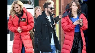 Jack P Shepherd, Tina O'Brien and Samia Longchambon wrap up warm in the snow as the