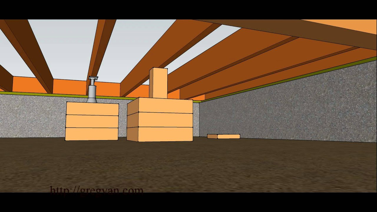 How To Raise Sagging Subfloor Joist With Jacks And Blocks Framing Repairs Youtube