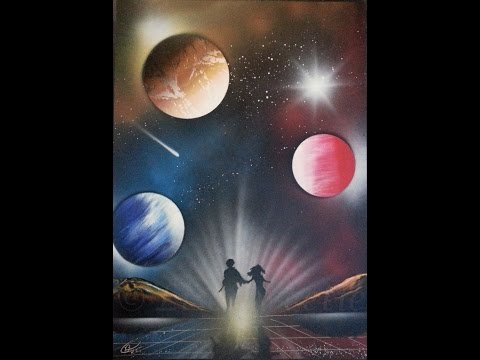 Spray paint art – Couple running in space – made by street artist