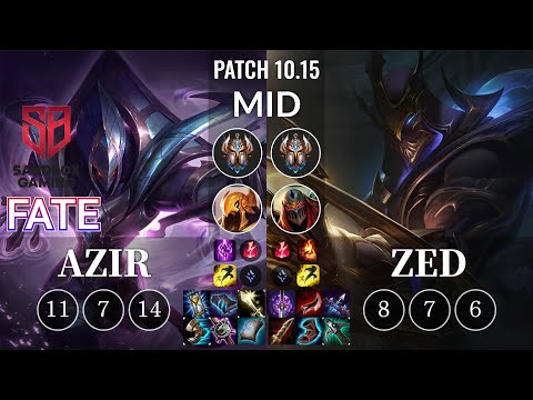 SB FATE Azir vs Zed Mid - KR Patch 10.15