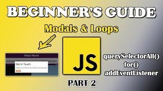 Gambar cover JavaScript Tutorial   Modals & Loops   Part 2