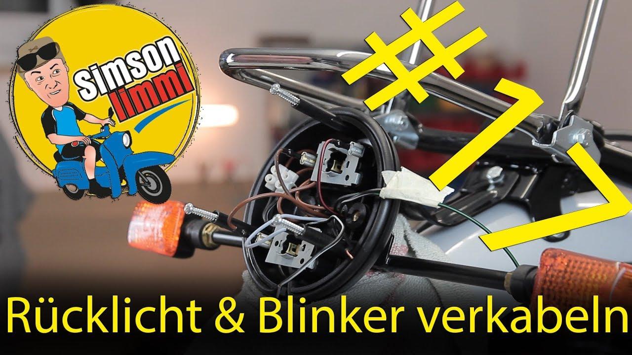 Simson S51 Neuaufbau Teil 17 Rücklicht & Blinker verkabeln - YouTube