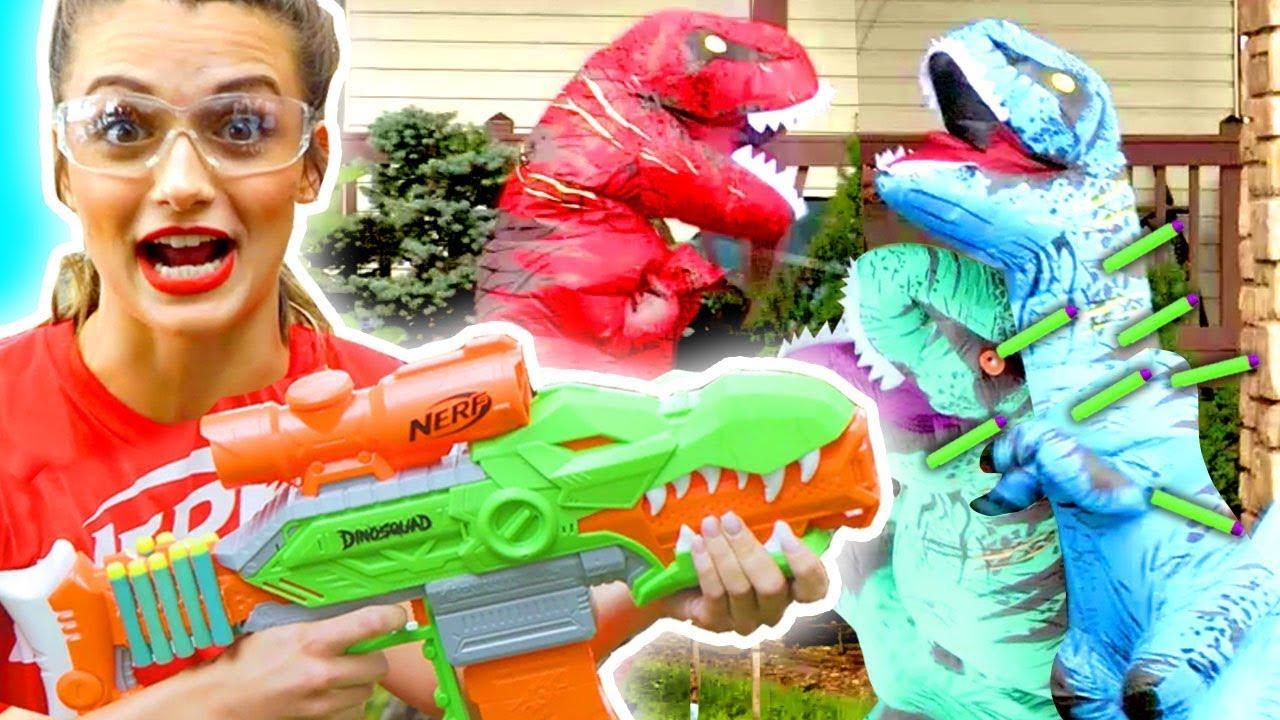 NERF Game   NERF Dinosquad Battle   Episode 4   NERF House Showdown   NERF Battle Royale