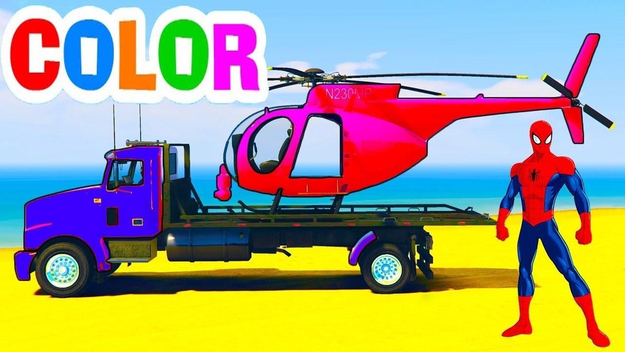 couleur avion transporteur w dr le h licopt re araign e voiture dessin anim youtube. Black Bedroom Furniture Sets. Home Design Ideas
