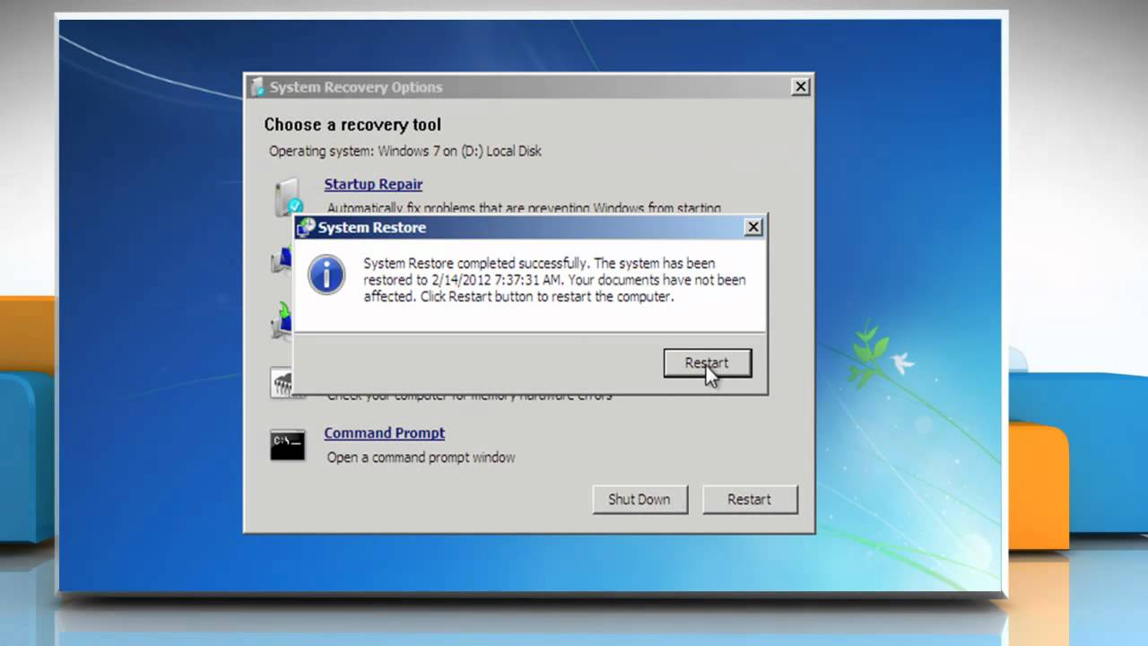 how to open system recovery on windows 7