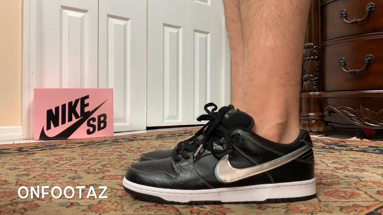 70dc43ba5f Nike SB Dunk Low Diamond Supply Co Black On Foot - YouTube