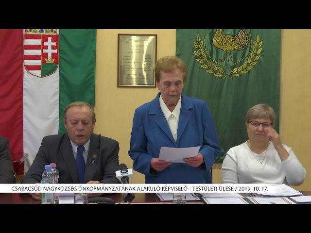 Csabacsűd Nagyközség Önkormányzatának alakuló Képviselő - testületi ülése (2019. 10. 15.)