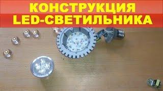 Конструкция LED-светильника(Разбираем LED-светильник. Конструкция, внутренности, принцип работы, сравнение с галогенкой., 2015-05-29T17:55:55.000Z)