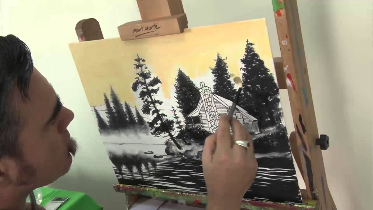 Log cabin in the woods painting - Art Lesson How To Paint A Log Cabin