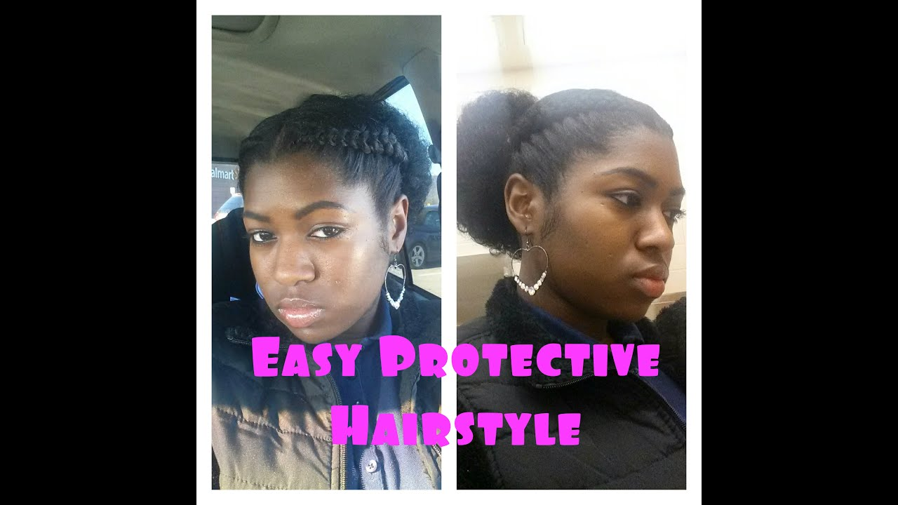 Easy Protective Hairstyle 2 Braids Drawstring Ponytail