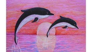 Уроки рисования. Как нарисовать ДЕЛЬФИНОВ мелками ArtBerry (морской закат)(Урок рисования для детей. В этом уроке вы научитесь рисовать дельфина и морской пейзаж мелками. Больше поле..., 2016-05-29T19:07:08.000Z)