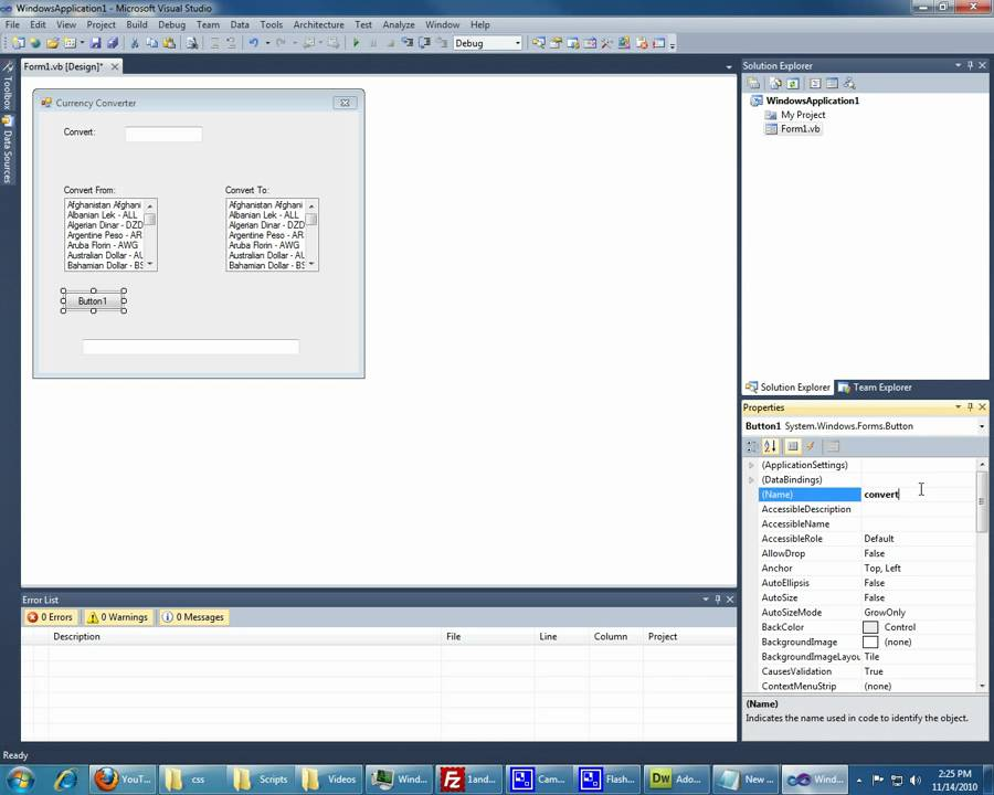 Visual Studio Basic Currency Converter Part 1 Of 2