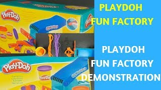 PLAYDOH FUN FACTORY - PLAYDOH MACHINE FUN TOY REVIEW.  PLAYDOH MACHINE TOY DEMONSTRATION LEARN COLOR