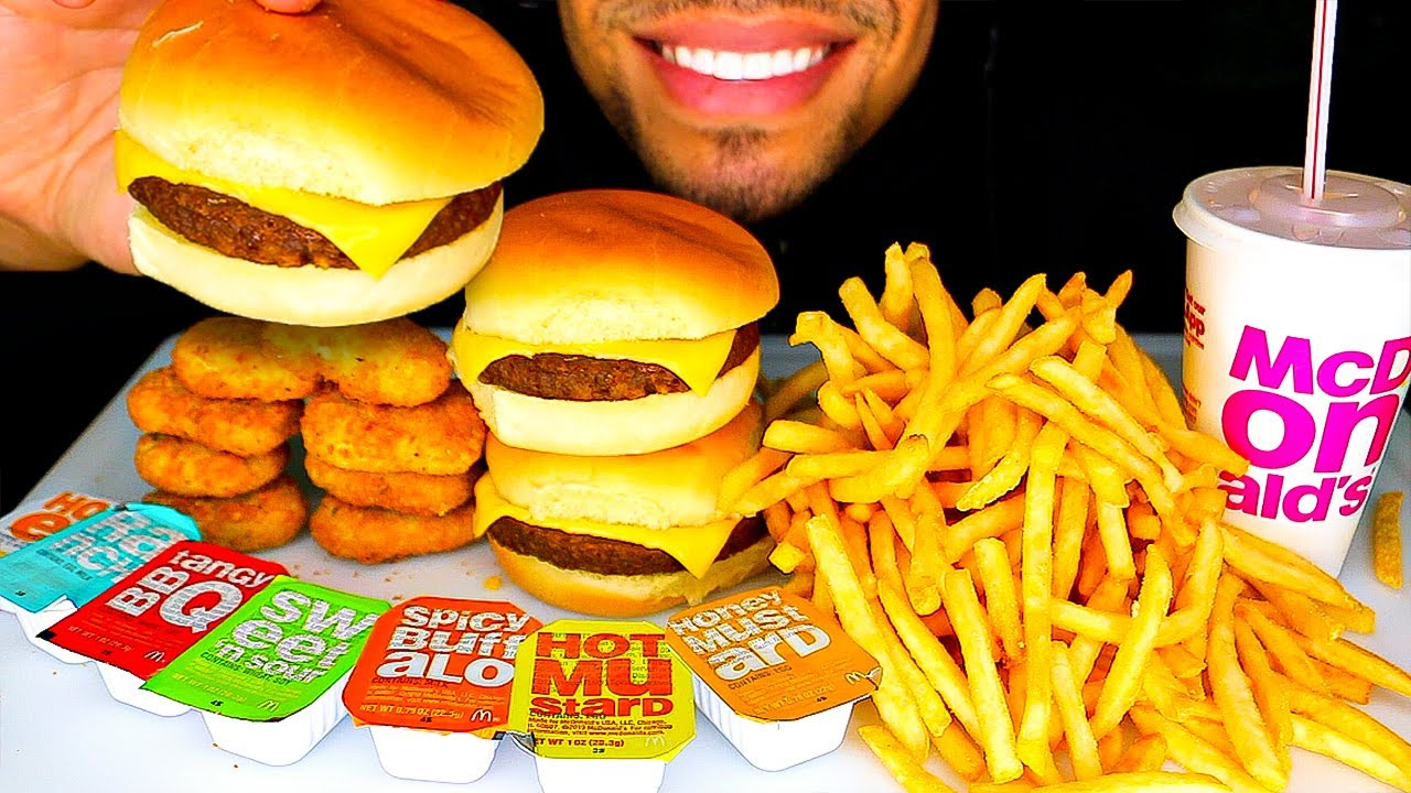 asmr eating mcdonalds cheeseburgers chicken nuggets french