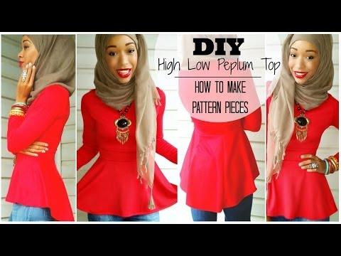 Nadira037 | DIY | High Low Peplum Top | Tutorial | How To Make A Pattern
