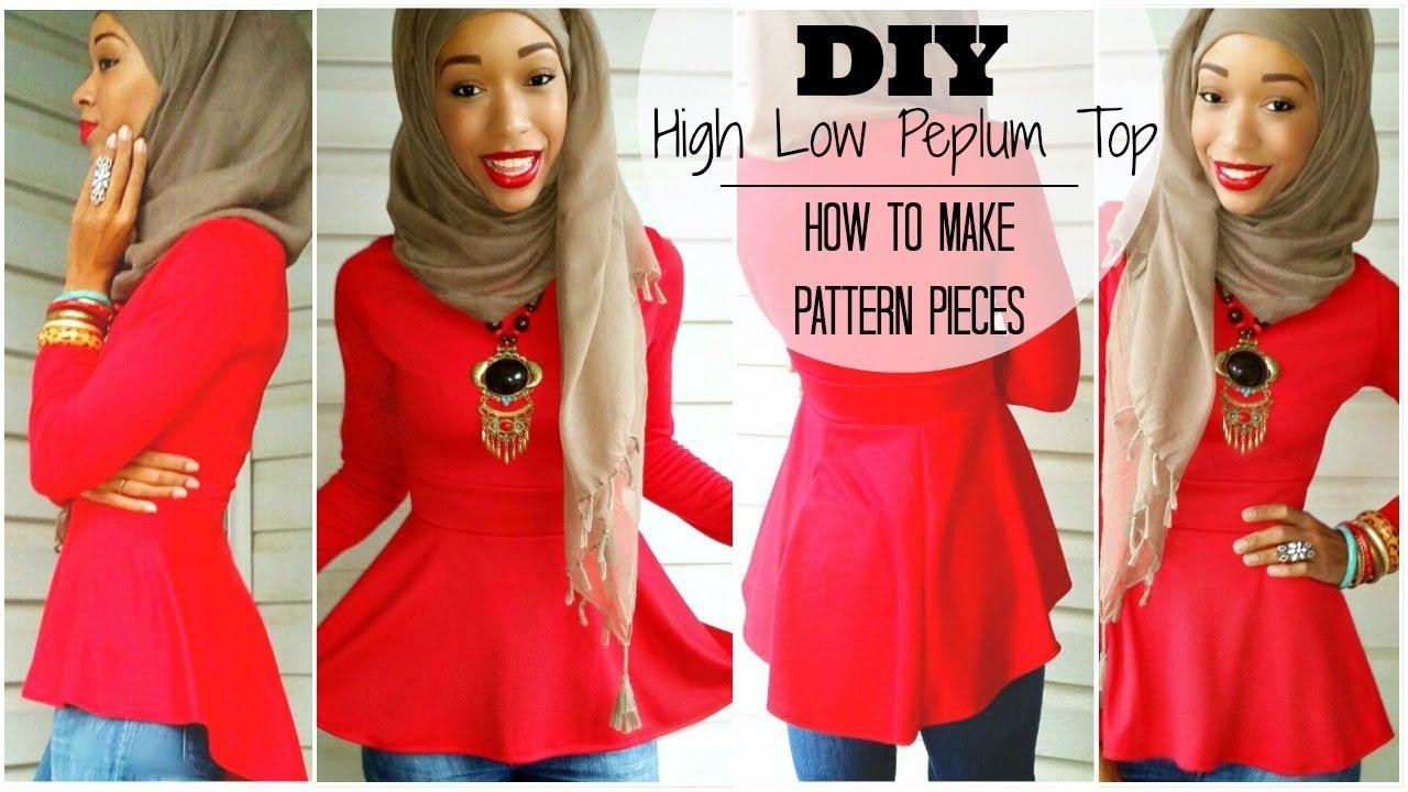 f8ef42bc9f6eef Nadira037 | DIY | High Low Peplum Top | Tutorial | How to Make a Pattern -  YouTube