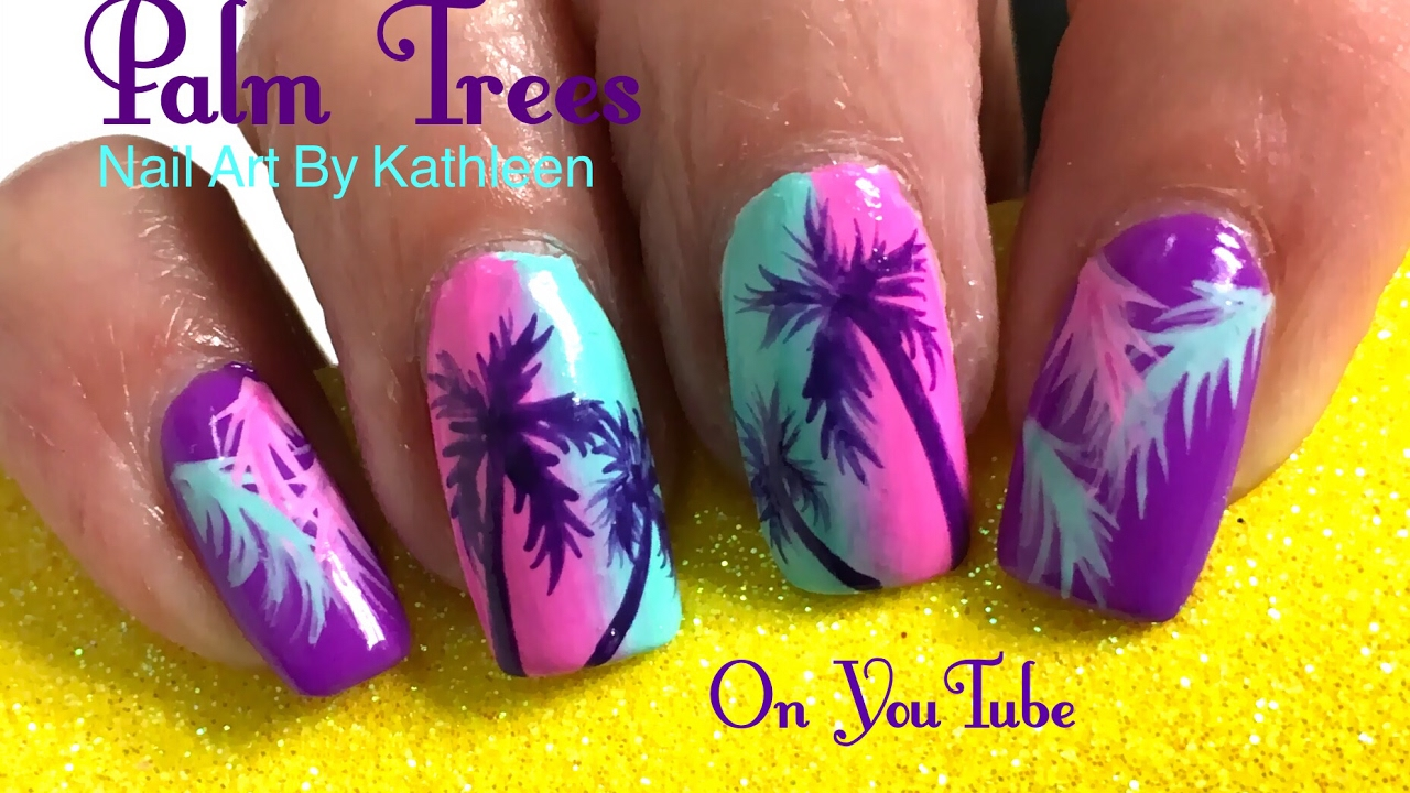 Palm Tree Nail Art   Palm Tree Nail Art Diy Summer Nails Youtube