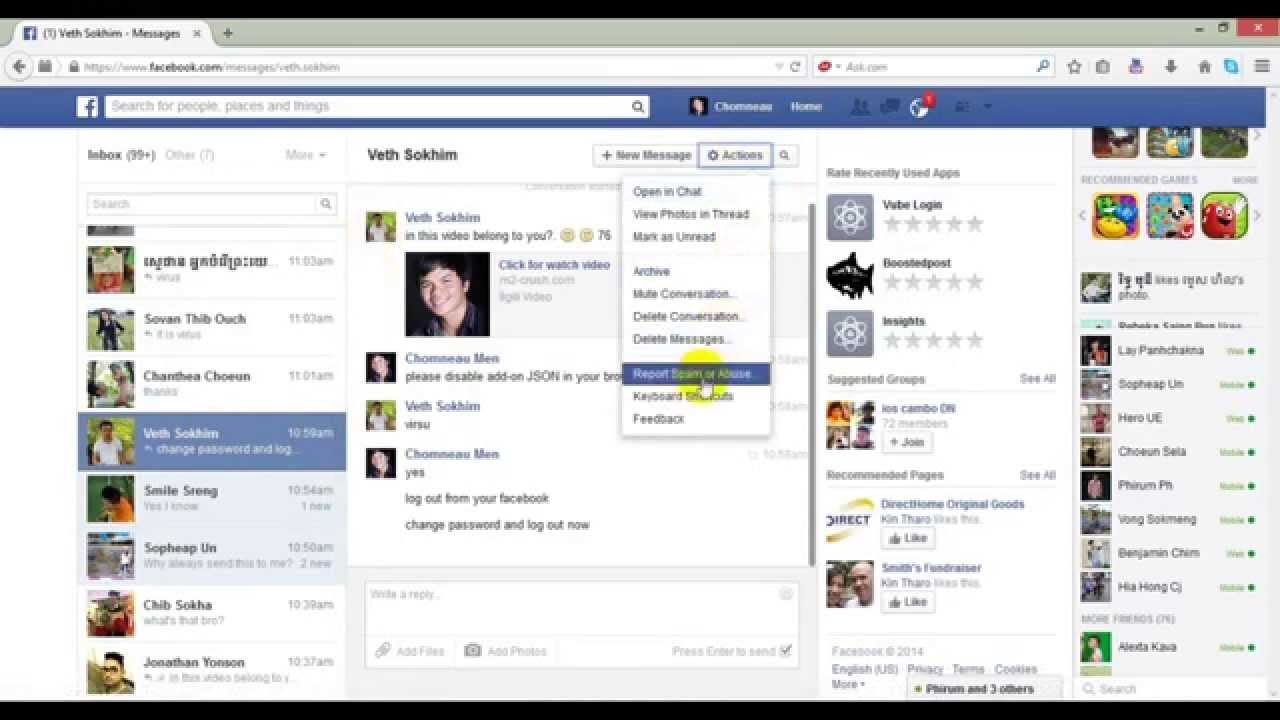 How To Remove Spam From Facebook Message
