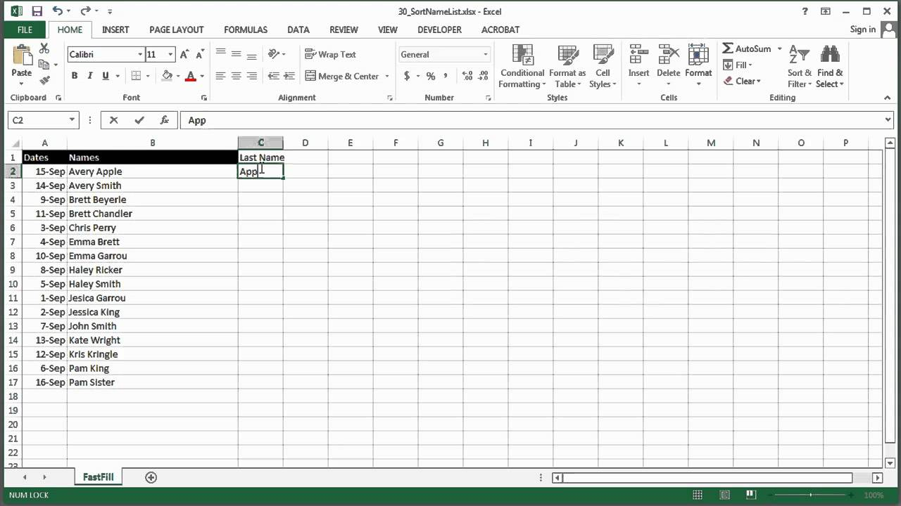 How To Sort A Name List By Same Names In MS Excel : Using